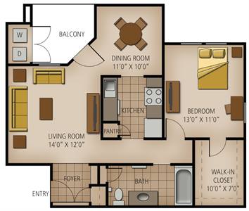 755 sq. ft. Fredericksburg floor plan