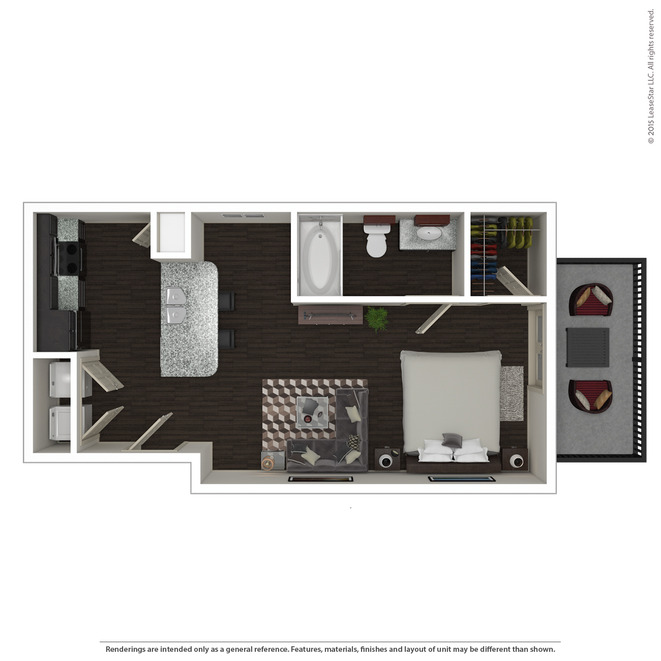 572 sq. ft. E2 floor plan