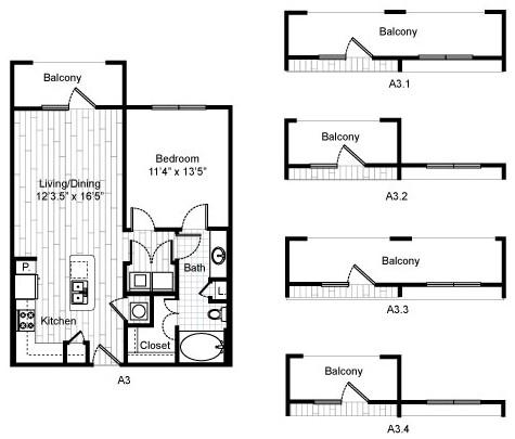 711 sq. ft. A3 floor plan