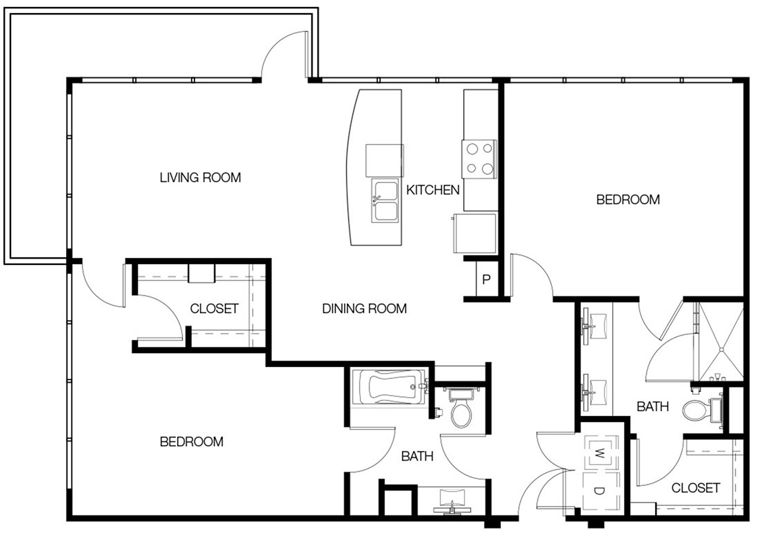 1,287 sq. ft. B2A floor plan