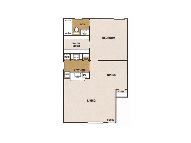 700 sq. ft. F floor plan