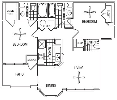 967 sq. ft. 50% floor plan