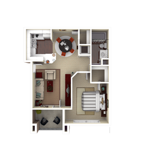 603 sq. ft. A1 floor plan
