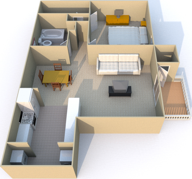 651 sq. ft. floor plan