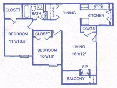 813 sq. ft. Cornerstone floor plan