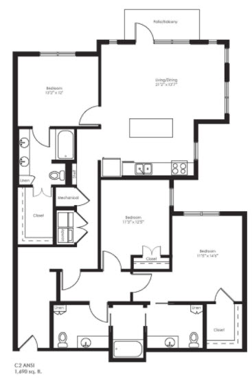 1,690 sq. ft. C2 Ansi floor plan