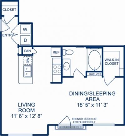 709 sq. ft. AUSTIN floor plan