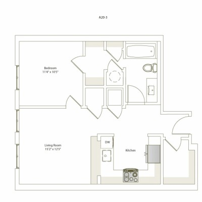633 sq. ft. A20-3 floor plan
