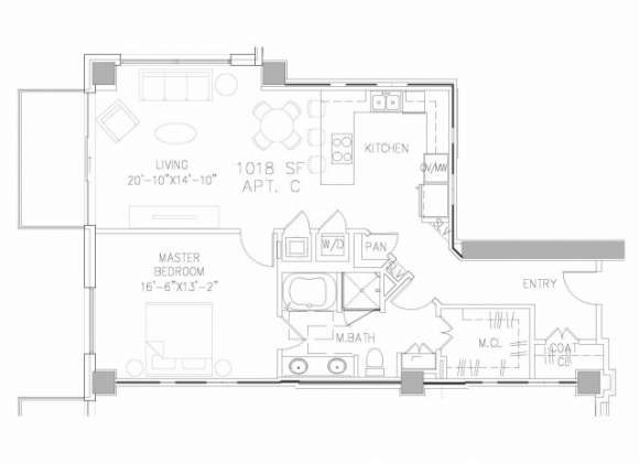 1,018 sq. ft. A2 floor plan