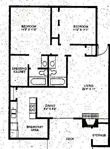 1,050 sq. ft. B1 floor plan