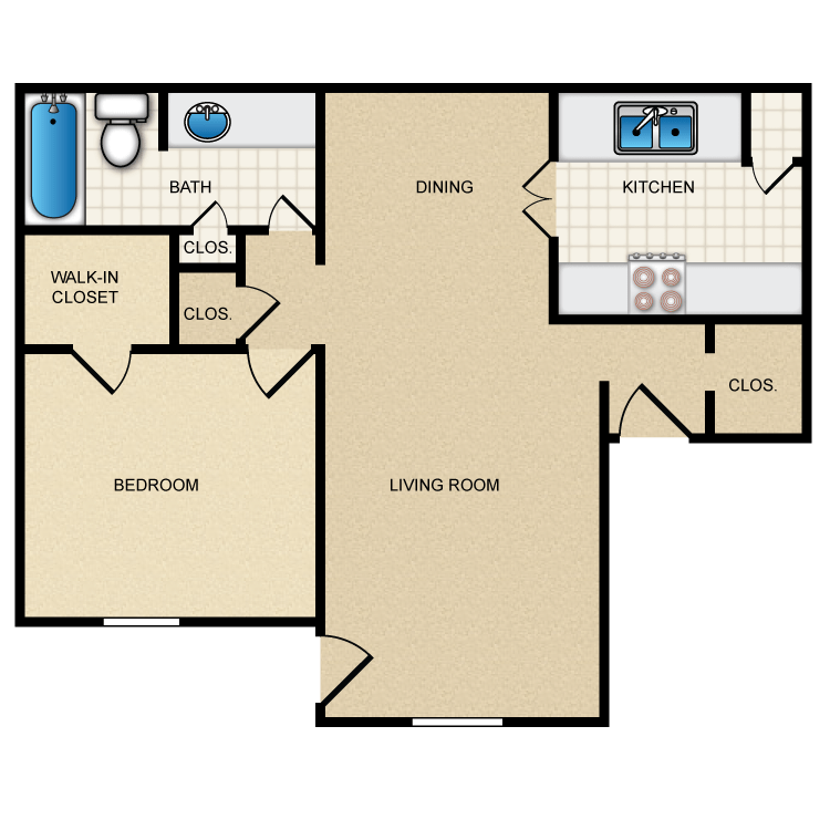 721 sq. ft. II-A2 floor plan