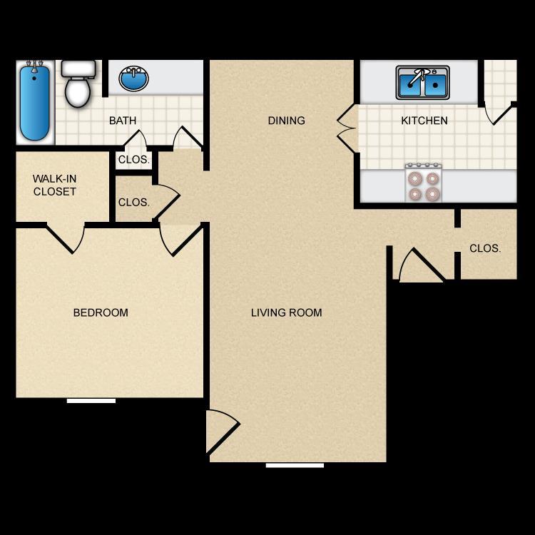 721 sq. ft. II-A2 floor plan