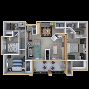 1,352 sq. ft. D3 floor plan