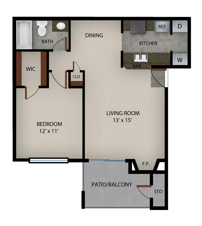 623 sq. ft. Hilton Head floor plan