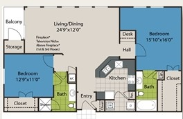 1,244 sq. ft. B4 floor plan