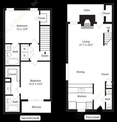 1,045 sq. ft. B3 floor plan