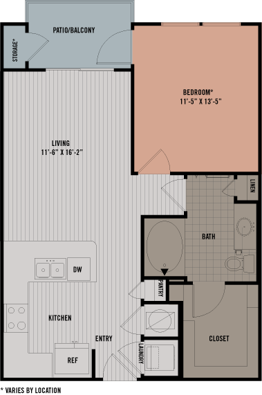 683 sq. ft. A7A floor plan