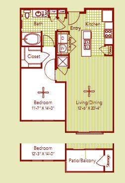 708 sq. ft. LORRAINE floor plan