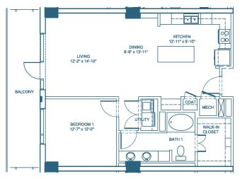 949 sq. ft. A3 floor plan