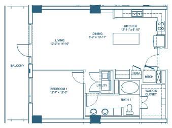 949 sq. ft. A3 floor plan