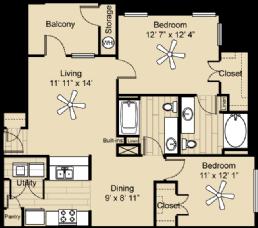 969 sq. ft. Llano floor plan