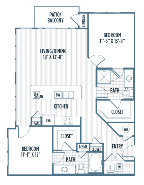 1,212 sq. ft. B2 floor plan