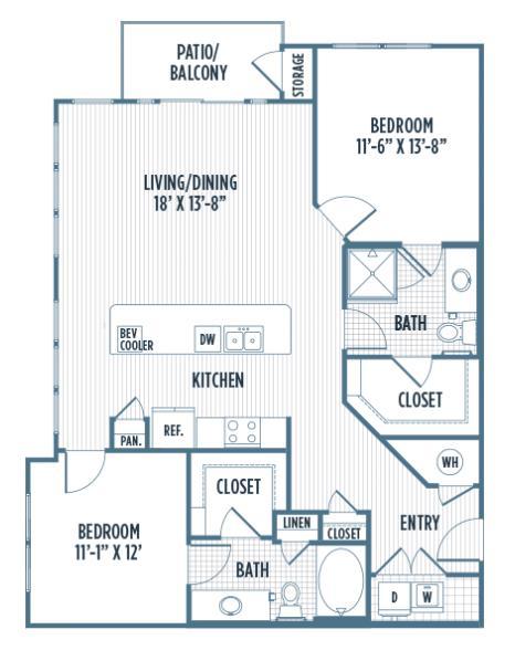 1,212 sq. ft. B2 floor plan