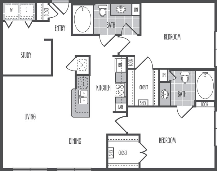 1,209 sq. ft. J2 floor plan