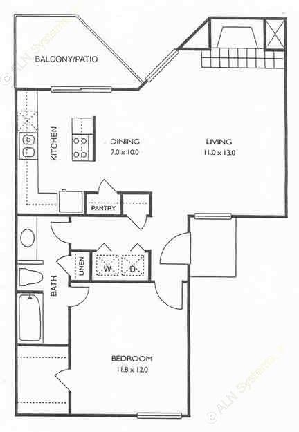 680 sq. ft. Warwick floor plan