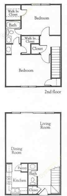 1,139 sq. ft. B1 floor plan