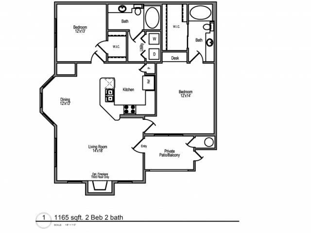 1,161 sq. ft. St Croix floor plan