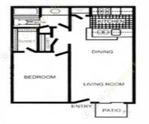 648 sq. ft. Bedford floor plan