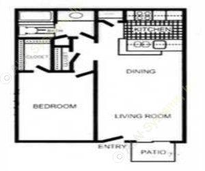 648 sq. ft. Bedford floor plan
