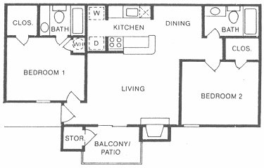 886 sq. ft. floor plan