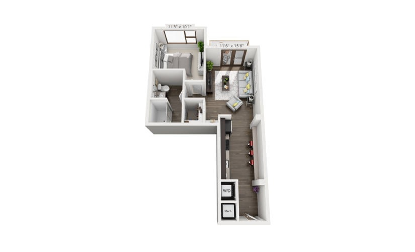 768 sq. ft. A4A floor plan