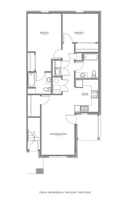 1,122 sq. ft. MKT floor plan
