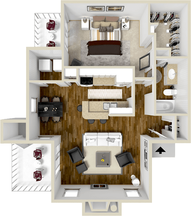 853 sq. ft. A4S floor plan
