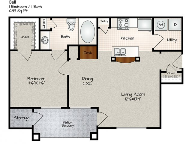 683 sq. ft. Bell floor plan