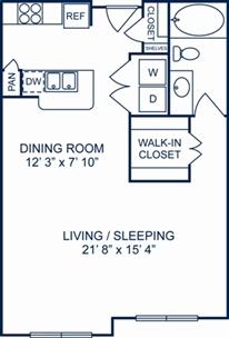 727 sq. ft. Barcelona floor plan