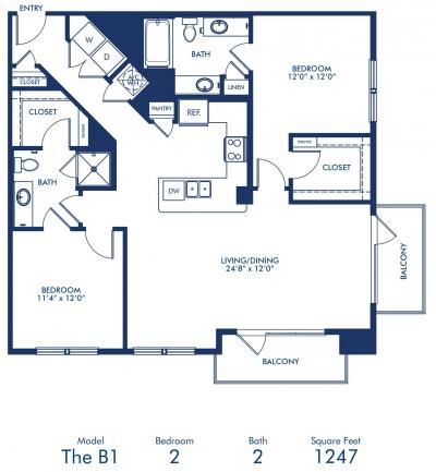 1,247 sq. ft. B1 floor plan