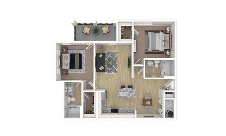 913 sq. ft. C1 floor plan