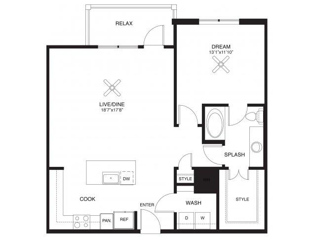 966 sq. ft. Hamilton floor plan