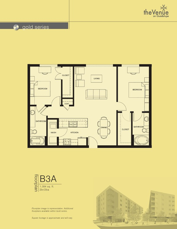 1,084 sq. ft. B3A floor plan