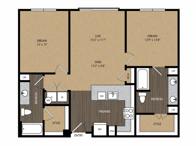 1,140 sq. ft. Harwood B2 floor plan