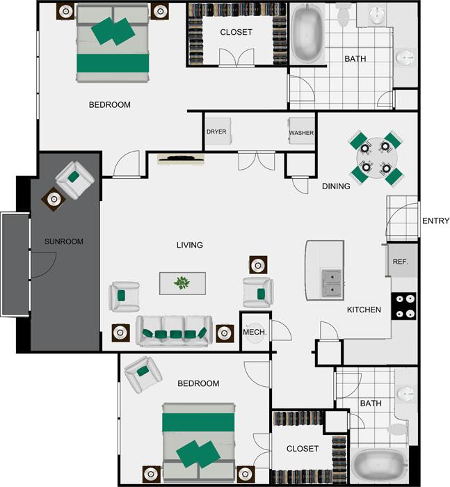1,307 sq. ft. B4C floor plan