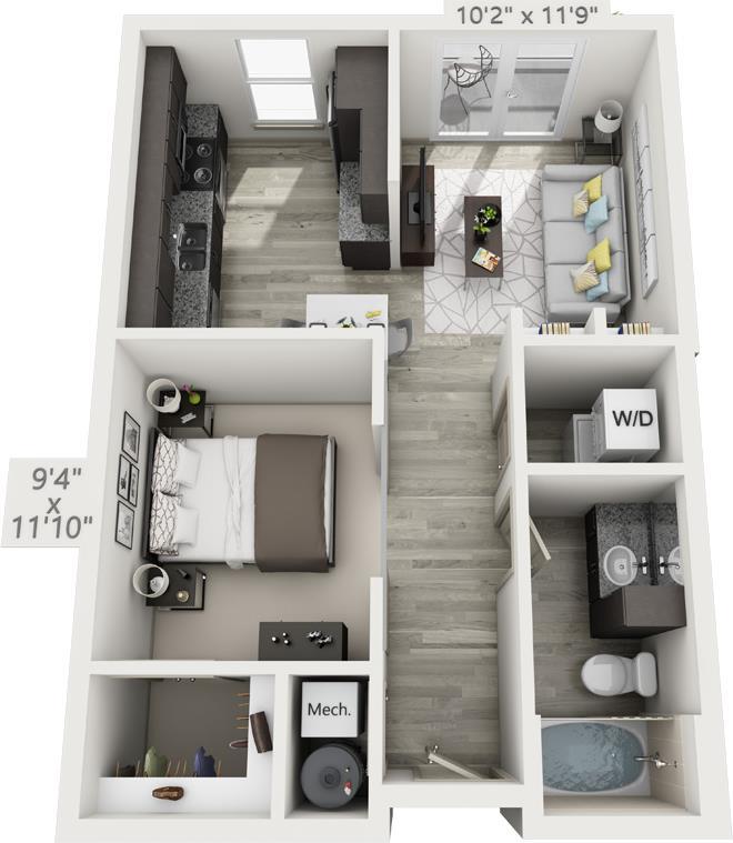 630 sq. ft. E2 floor plan