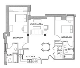 1,112 sq. ft. Eff C floor plan