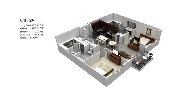 1,090 sq. ft. Wisteria/2A floor plan