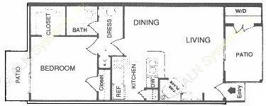 626 sq. ft. D floor plan