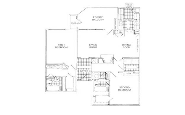 1,115 sq. ft. F floor plan